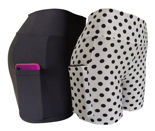 Kit 02 Shorts Curto Academia Com Bolso/celular Suplex
