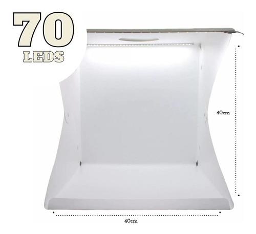 Mini Estúdio Fotográfico 2 Fitas Led Pasta Portátil 40x40x40