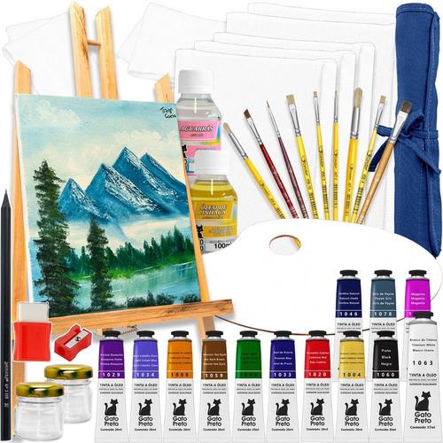 Kit Pintura Completo Pronto Para Usar C/ Tela Tintas E Mt+