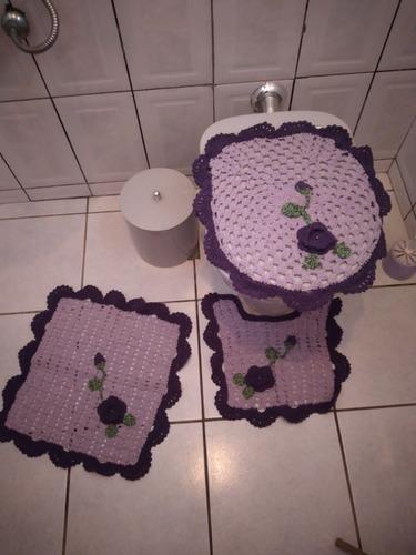 Tapete Banheiro Crochê Jogo 3 Peças Promoção Barato