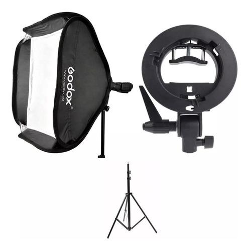 Tripé Com Softbox 60x60 P/ Flash Speedlite / Dedicado Godox