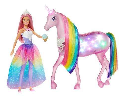 Barbie Y Unicornio De Luces Magicas Mattel Original Y Nuevo