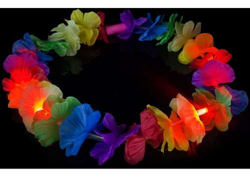 1 Collar Hawaiano Led Cotillon Luminoso Flores Hawaiana 10tra Online