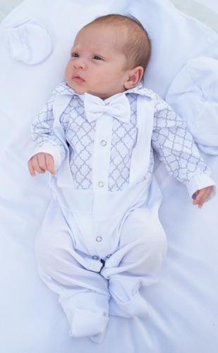 Saída De Maternidade Miguel Suspensório Menino Azul 04 Peça