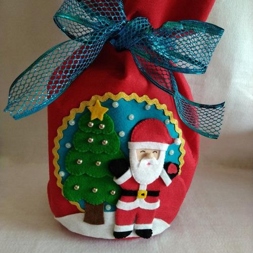 Papai Noel Porta Panetone Em Feltro