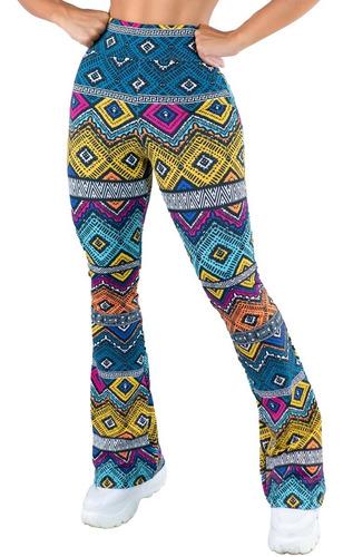 Calça Feminina Flare Pantalona Suplex Cintura Alta