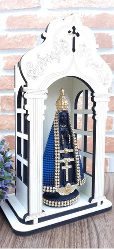 Capela Oratório 25cm Madeira Mdf + Nossa Srª Aparecida Azul