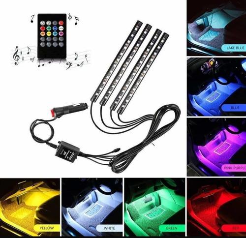 Luces Led Rgb Multicolor Interior De Carro Sensor De Música