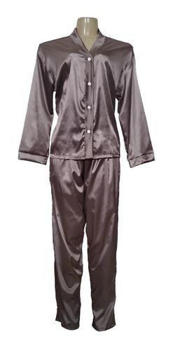 Pijama Feminino Longo Em Cetim - Blusa E Calça