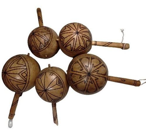 2 Maraca Cabaça Coite  Artesanal Indígena Rústica Genuina
