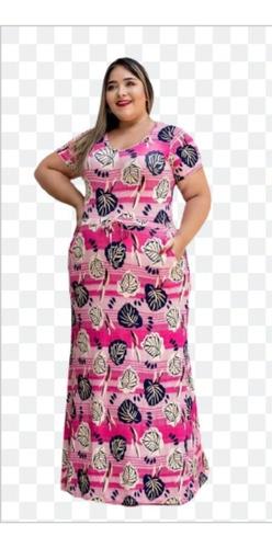 Vestido Longo Bolsos, Gola  Redonda  Plus Size