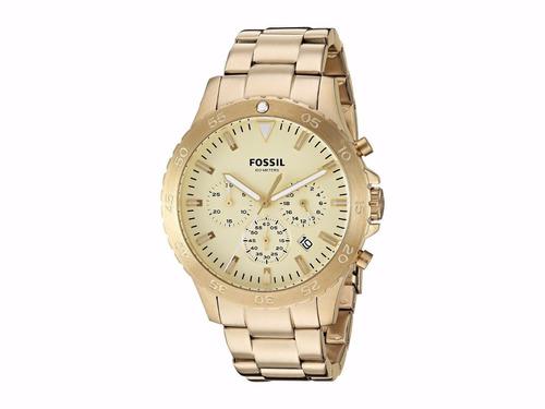 Reloj Fossil Cronógrafo Color Oro De Acero Inoxidable