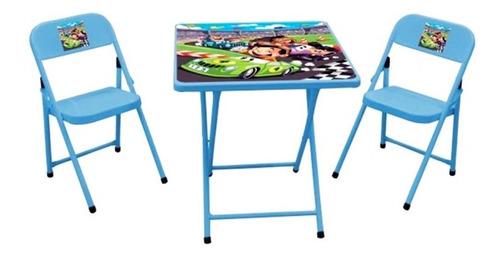 Conjunto De Mesa Infantil Carros Com 2 Cadeiras Açomix