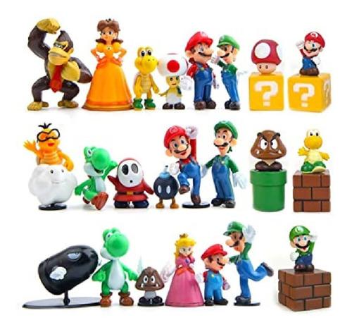Figura Muñeco Mario Bros Mini 10cm Luigi Peach 3$ Dk Ag