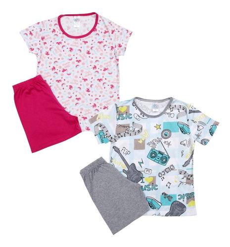 4 Pijamas Femininos Masculinos Infantil Juvenil Atacado