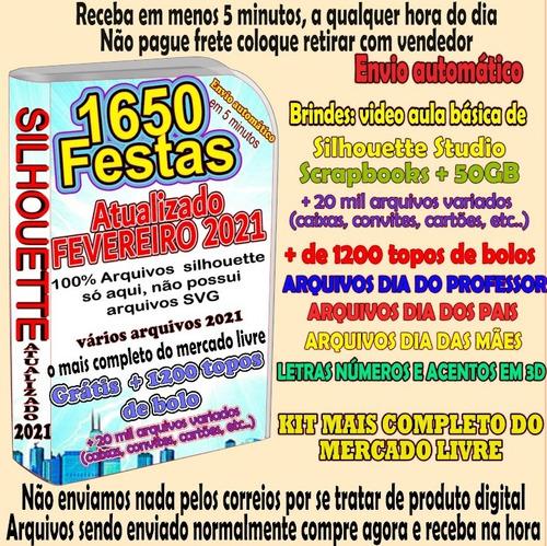 1100 Kit Festas Prontas Arquivo Corte Silhouette + 1200 Topo