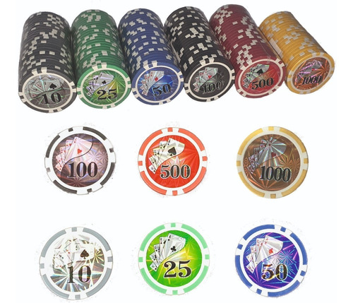 Fichas Poker Profesionales 11,5 Gr Numeradas 6 Packs 25/20