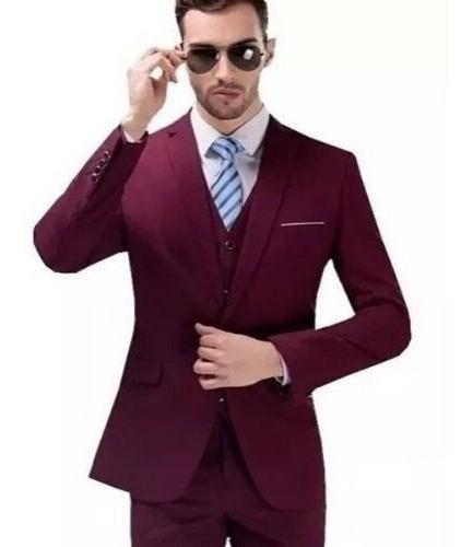 Terno Cinza Escuro Paletó+calça+colete + Oferta De 2020