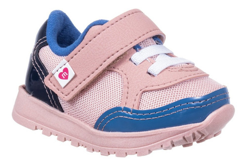 Tênis Baby Knit Recortes Molekinha Rosa/azul 2128-113