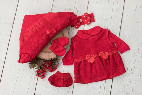 Saída Maternidade Renda Vermelha Luxo Para Bebê Reborn