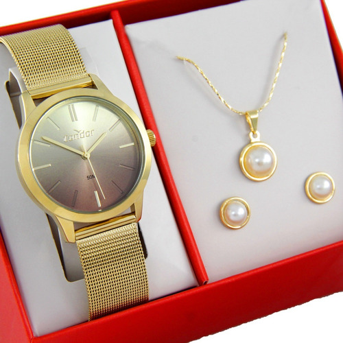 Relógio Condor Feminino Dourado + Kit Co2036kwx/k4x