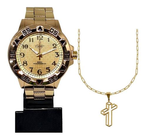 Relógio Masculino Dourado Barato Grande Original + Corrente