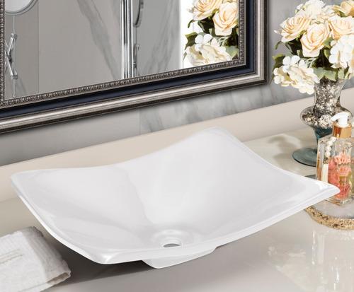 Cuba Pia Para Banheiro Retangular Côncava Branca
