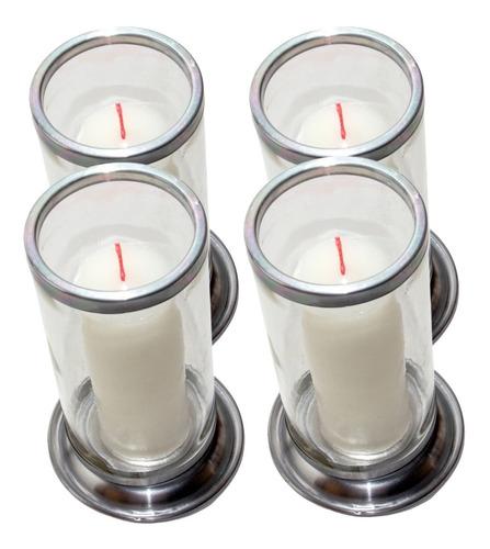 04 Suporte Para Vela 7 Dias Transparente Base Alumínio