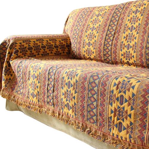 Capa De Sofá Com Borlas De Algodão Cobertor Cama Sofá Cadeir