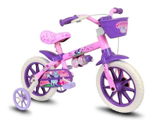 Bicicleta  Infantil Nathor Aro 12 Cat Aro 12 Freio Tambor Cor Rosa/violeta Com Rodas De Treinamento