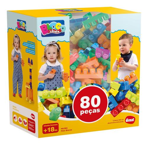 Brinquedo Mais Blocos Infantil Montar Encaixar Grande 80pçs