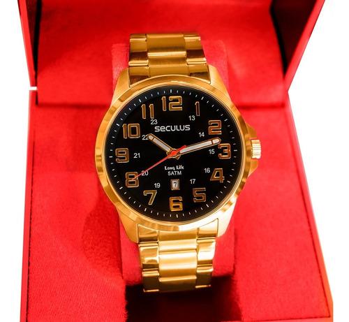Relógio Seculus Masculino Analógico Dourado Aço Calendário