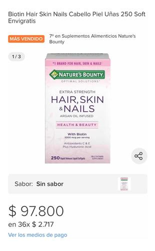 Vitaminas Biotin Hait, Skin& Nails Nature Bounty