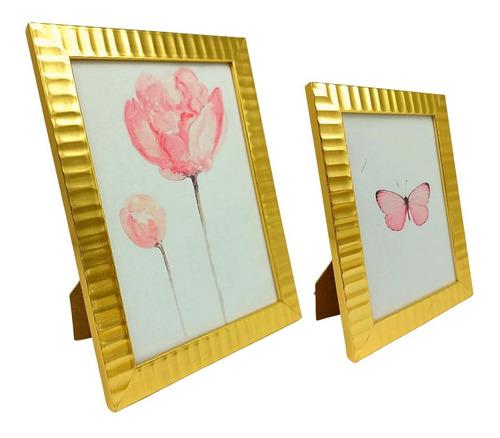 2 Porta Retratos Gold Sala Quarto Moderno 10x15 13x18