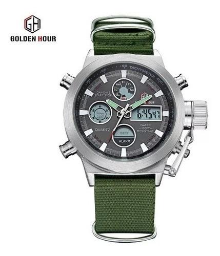 Relógio Estilo Militar Goldenhour - Pronta Entrega No Brasil