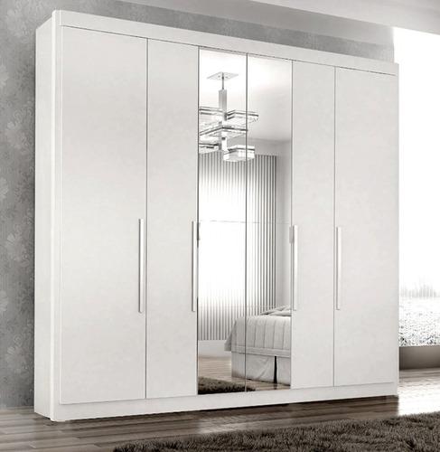 Guarda Roupa Valencia 6 Portas 6 Gav C/espelho Branco