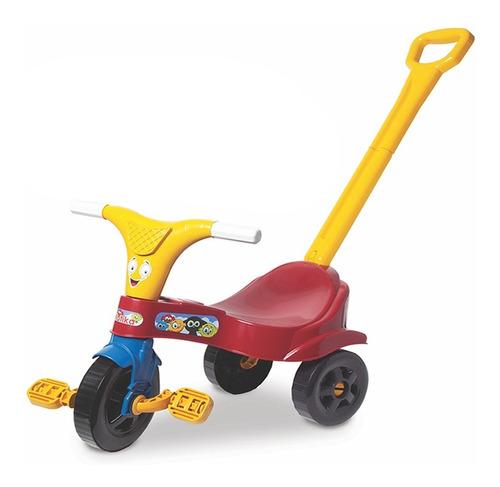 Triciclo Infantil Motoca Vermelho Menino C/ Empurrador