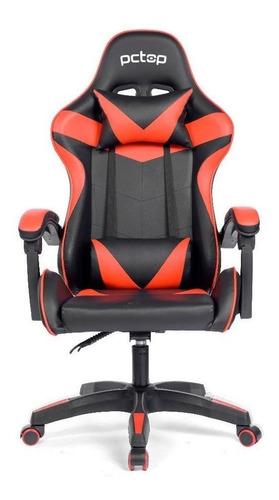 Cadeira Gamer Pctop Strike 1005  Reclinável Preta E Vermelha