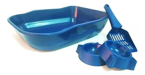 Kit Bandeja Sanitaria Para Gato + Pala + 2 Platos En Azul