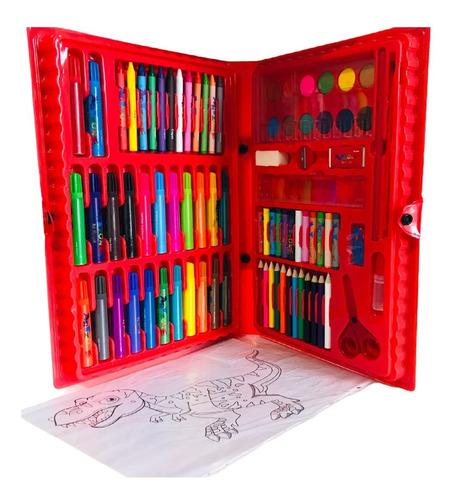 Maleta Estojo Escolar Pintura Infantil Canetinha Giz 86 Pçs