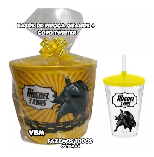 Balde De Pipoca Grande + Copo Twister Personalizado 30 Itens