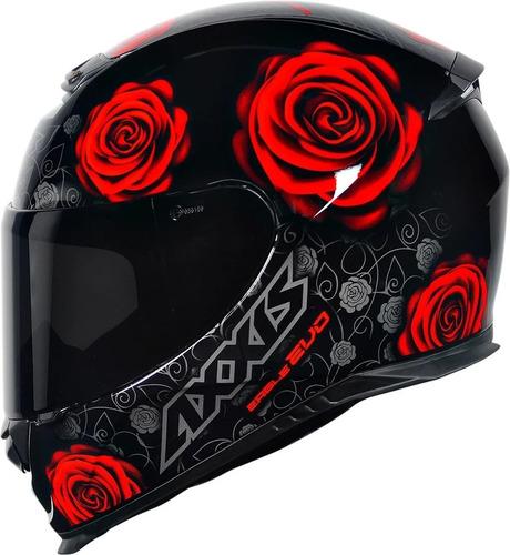 Capacete Moto Axxis Eagle Flowers Feminino Preto Vermelho