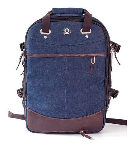 Mochila Fotográfica Photopro Style Blue Notebook Capa Chuva