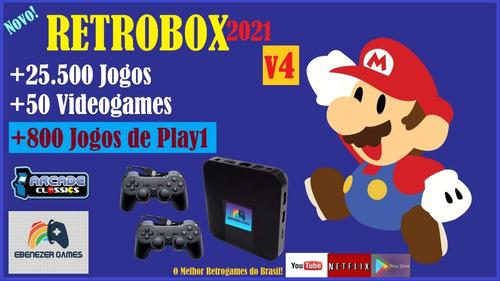 Retrobox 2021 64gb +25.500 Jogos E 2 Controles