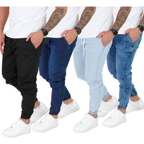 Kit 4 Calça Jeans Camuflada Preta Masculina Jogger Com Punho