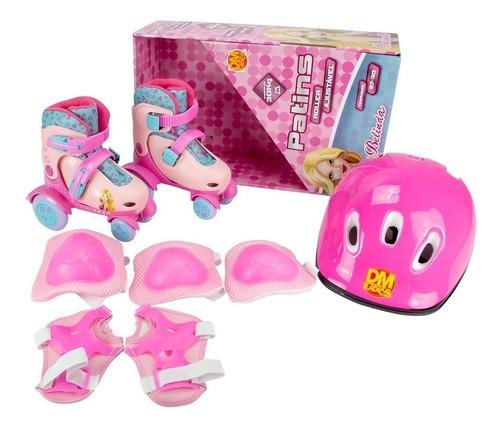 Roller Patins Infantil Rosa 4 Rodas Kit Proteção N27-30 Girl