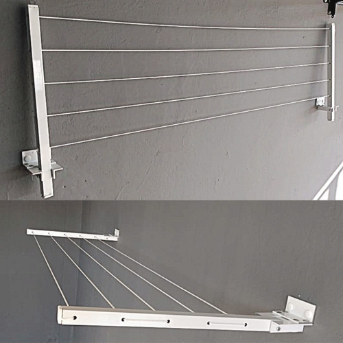 Varal Reforçado 60 Kg Retrátil Parede Alumínio Cor Branco
