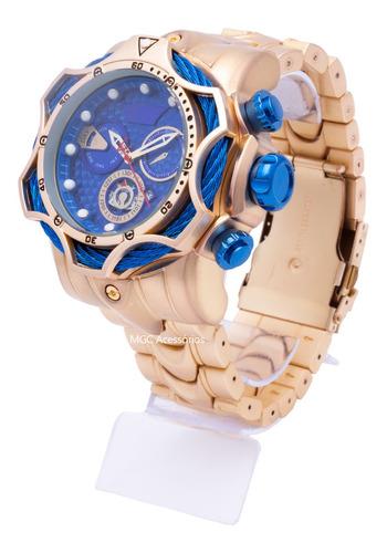 Relógio De Pulso Masculino Luxo Dourado + Brinde