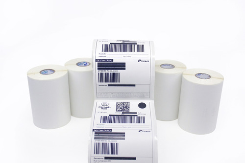 5 Rolos Etiqueta Adesiva 10x15 Couche Mercado Envio Correios