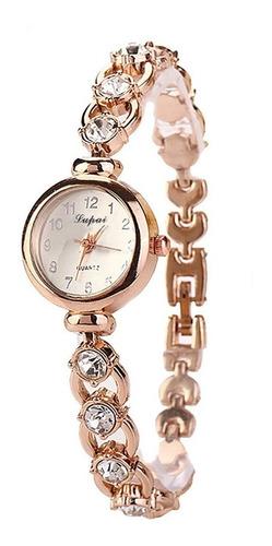 Relógio Dourado Feminino De Pulso Quartz Pulseira Com Pedras